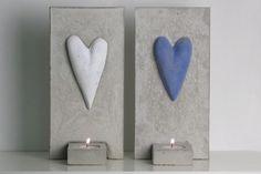 De här söta lampetterna är gjutna i betong med fina hjärtan.