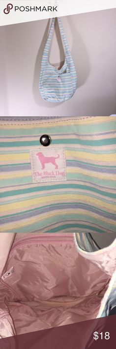 """The Black Dog Preppy Canvas Tote Bag Brand: The Black Dog Size: OS Description: 32"""" strap; front pocket with snap clousure; inside side pocket with zipper; perfect for the beach or shopping; few small marks on bottom and strap, but not very noticable. Condition: Very Good Fabric: No Fabric Tag, best guess to me is canvas outside with a nylon inside Length: 7"""" Width: 16"""" Height: 16.5"""" Item #1586 Bundle Discount Available! Reasonable offers welcome! No trades please.. Thanks for stopping by…"""
