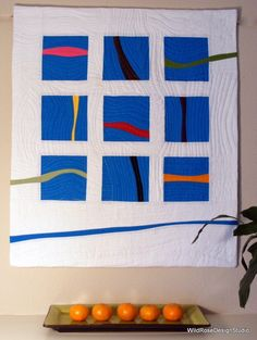 Streams of Color Wall Hanging Art Quilt From WildRoseDesignStudio