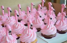 Flamingo Cupcake Toppers 1 Dozen 100% Edible by TheCakeHusband