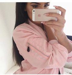 Pink Satin Bomber Jacket Pink Satin Bomber Jacket, Pink Jacket, Chanel, Makeup Goals, Makeup Style, Alicia Jiroux, Jackets Uk, Your Style, Fashion Killa
