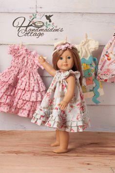 ...designed for all those little girls who LOVE to Twirl...now with their favorite doll!   Girls version of the Swing Dress is available here to purchase: https://www.etsy.com/listing/161073011/the-handmaidens-cottage-swing-dress-pdf?ref=shop_home_active_13  Fits 18 Dolls  Fabric requirement is 1 yard based on 44 wide fabric.  USE OF PATTERNS FOR RESALE: Patterns may be used for resale of finished products, if you are ONE PERSON SEWING AND SELLING FROM HOME. Credit must be given to the The…