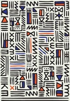 Pattern Knit by QUE DESIGN STORE, hieroglyphic pattern, geometric, orange blue black, fabric design Tribal Patterns, Graphic Patterns, Textile Patterns, Print Patterns, African Patterns, Cool Patterns, Surface Pattern Design, Pattern Art, Abstract Pattern