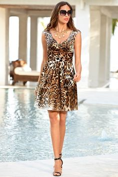 Ombre leopard fit-and-flare dress