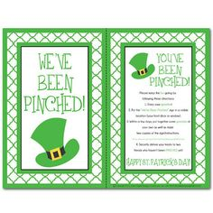 """PINCHED {Free Printable Kit} A very CUTE version of """"You've been Boo'd"""" for St Patrick's Day! SO FUN. but watch out for those pesky little leprechans. St Pattys, St Patricks Day, Saint Patricks, Holiday Crafts, Holiday Fun, Holiday Games, Holiday Ideas, Xmas Ideas, Holiday Decorations"""