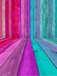 gradations of reds/pinks, and blues/greens on wood
