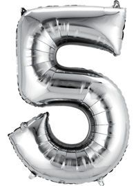 Silver Number 5 Balloon - Party City