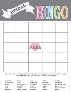 Free Printable Bridal Bingo Template | Bridal Shower … | Katelyn\'s ...