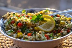 Israeli Pearl Couscous & Veggie Caper Salad | Wonderful served in canning jars for a picnic ;) enjoy! | From: chindeep.com