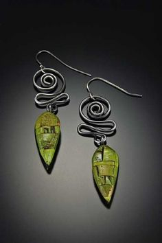 Spiral Drop Earrings by Tish Collins Polymer ~  x