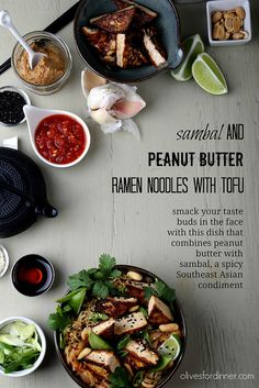 Sambal and peanut butter are combined and tossed with ramen noodles and tofu. Tofu Recipes, Asian Recipes, Whole Food Recipes, Dinner Recipes, Cooking Recipes, Healthy Recipes, Healthy Foods, Dinner Ideas, Peanut Butter Ramen
