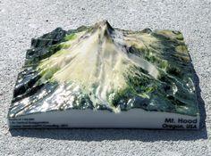 """Mt. Hood Map - 5"""" 3d printed"""