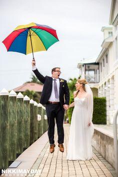 Marco Island Rainy Day Umbrella Wedding Picture Portraits