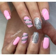 pink, silver nails - Google Search