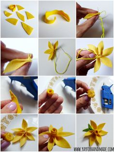 Super cute DIY felt flower tutorial for making pretty daffodils! Perfect Spring craft project to add flourish to a sewing project or gift wrapping! www.yayforhandmade.com