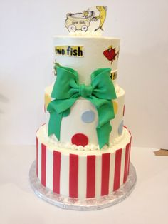 Dr Suess baby shower cake. Buttercream with fondant accents