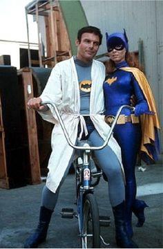 Adam West and Yvonne Craig behind the scenes of the Batman TV series.