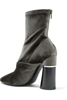 3.1 Phillip Lim - Kyoto Stretch-velvet Ankle Boots - Sage green