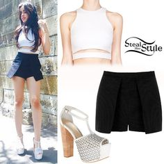 photo posted by Camila Cabello on instagram Camila Cabello posted a picture a few hours ago wearing a Nicholas Cutout Ponte Cropped Top ($220.00), the Topshop Petite Structured Skort ($68.00) and a pair of Jessica Simpson Dany5 Platform Sandals ($89.00).