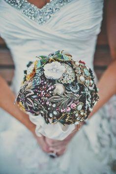 jeweled broach wedding bouquet! // photo by TealePhotography.net