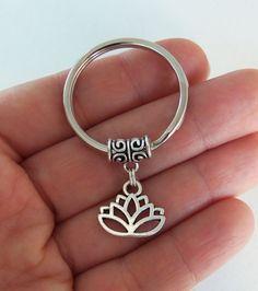 Pretty Lotus keychain for the minimalist, namaste, by BubbleGumGraffiti on Etsy