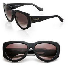 Balenciaga 58mm Angular Round Sunglasses