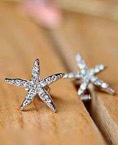 Love these! Sweet Little Starfish Earrings! Pair of Exquisite Cute Style Five-Point Starfish Shape Rhinestoned Studded Earrings #Rhinestone #Starfish #Earrings #Beach #Fashion #Jewelry #Accessories #Gift #Ideas