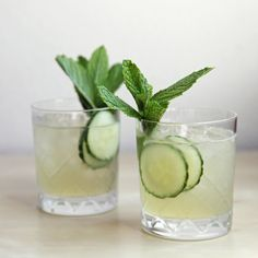 Cucumber-Mint Gin Cocktail on @POPSUGAR Food