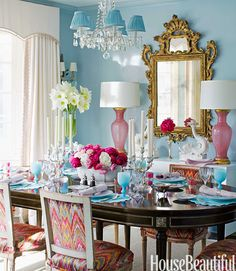 Ruthie Sommers, Farrow & Ball Blue Ground on walls, Clarence House Talcy Velvet on Chairs, Lamps by Swank Lighting
