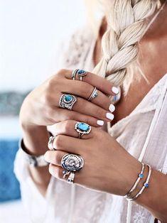 7059f028d3 Turquoise Ring Boho Bohemian Large Gemstone Personalised Gypsy Stylish  Trendy Chevron Oval Nickel Fr