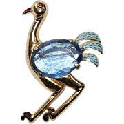 Coro Enamel Ostrich Glass Belly Bird Pin Brooch