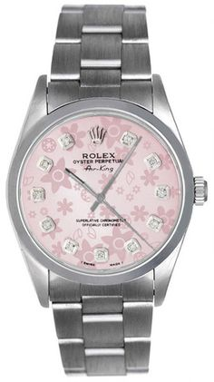 Brand: Rolex - Series: Airking - Gender: Unisex - Case Material: Stainless Steel - Case Diameter: - Dial Color/Diamond Quality: Pink color flowers with 11 rounds of diamonds - Bezel/Diamond Quali Pink Jewelry, Luxury Jewelry, Stylish Watches, Watches For Men, Rolex Air King, Diamond Face, Expensive Watches, Hand Watch, Beautiful Watches