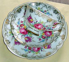 Festive Vintage Cup Saucer Plate Trio Beautiful Florals Gold Adeline Germany | eBay