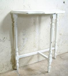 Vintage White Console Table Shabby Chic Cottage $75