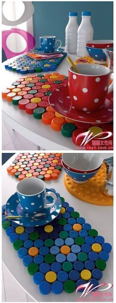 Jazz up the décor of your house with enticing craft items. Go through the collection of easy DIY crafts here for getting fabulous ideas to make the craft. Plastic Bottle Caps, Bottle Cap Art, Bottle Cap Crafts, Bottle Cap Table, Pet Bottle, Recycle Plastic Bottles, Diy And Crafts, Craft Projects, Crafts For Kids