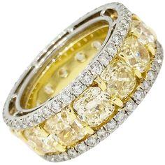 Cushion Yellow Diamond Eternity Ring in Platinum & 18k Yellow Gold 1