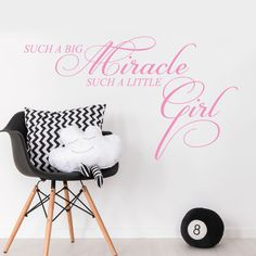 Big Miracle Little Girl Quote Baby Nursery Bedroom Wall Sticker Decal Mural