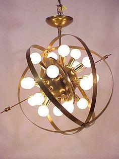 C 1950's Mid Century Sputnik Atomic Space Age Chandelier 20 Arm Light Lamp | eBay
