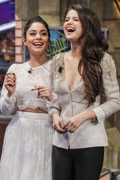 Smiling in Spain: Selena Gomez and Vanessa Hudgens taped an episode of El Hormiguero in Madrid on Friday while promoting Spring Breakers.