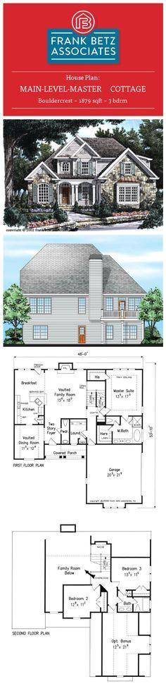 Bouldercrest: 1879 sqft, 3 bdrm, main-level-master Cottage design house plan by Frank Betz Associates Inc.  #houseplan #cottage