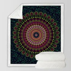 Power Source Cheap Sale Custom Soft Fleece Throw Blanket Chakra Decor Holistic Mandala Water Lily Pattern With Light Soft Color Stylized Zen Life Boho