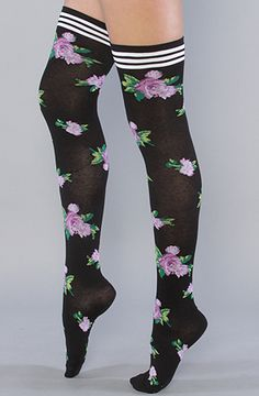 The Mexicali Rose Thigh High Sock in Black