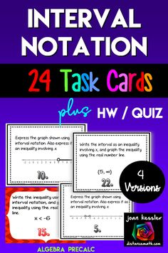 Your students will practice working with interval notation in two different formats.   Each set of cards comes in both Black and white or color.   Also included is an extra  assignment, Use as a Quiz  or HW.