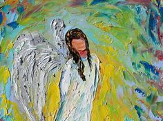 Original oil painting Angel painting abstract by Karensfineart