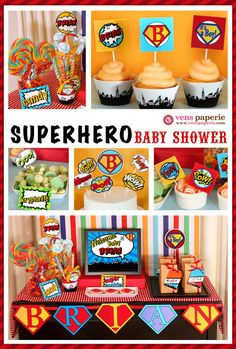 superhero baby shower package personalised digital party decoration, superhero party printables, superhero boy baby shower dessert table from venspaperie Marvel Baby Shower, Superhero Baby Shower, Superhero Party, Superhero Kids, Shower Party, Baby Shower Parties, Baby Shower Themes, Baby Boy Shower, Shower Ideas