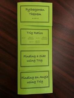 This is a foldable which reviews basic Trigonometry.  Students review solving for a side, solving for an angle, Pythagorean Theorem, and Trig Ratios.The left hand side of the foldable is model problems (teacher directed) and the right hand side of the foldable is student practicePrint on both sides of a sheet of paper, fold paper in half, and cut along the lines for flaps.This foldable is great for a lesson (interactive notebook), as a review activity, or as a homework assignment.Please…