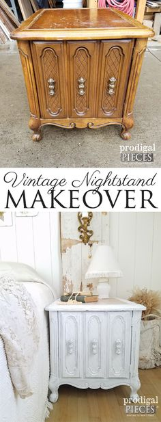 Diy Furniture : Teen girl gives this vintage nightstand a makeover giving it a cottage farmhouse Recycled Wood Furniture, White Painted Furniture, Refurbished Furniture, Vintage Furniture, Victorian Furniture, Victorian Decor, Furniture Projects, Furniture Making, Home Furniture