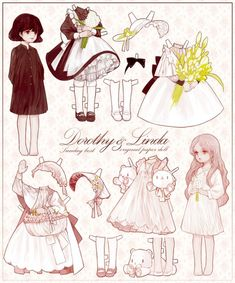 I'd go wild for these shits in 2006 Character Art, Character Design, Mode Lolita, Estilo Lolita, Paper Dolls Printable, Fashion Design Drawings, Vintage Paper Dolls, Drawing Clothes, Paper Toys