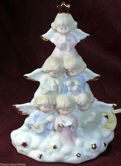 "Sweet Angel Chorus! House of Lloyd Angel Tree Night Light Heavenly Bisque Porcelain Xmas 8"" tall #HouseofLloyd"