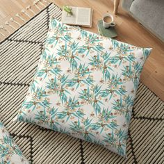 'Eucalyptus & Bees, Turquoise Copper Gold' Floor Pillow by ThistleandFox Floor Pillows, Throw Pillows, Surface Pattern Design, Pillow Design, Sell Your Art, Original Art, Fox, Fabrics, Copper